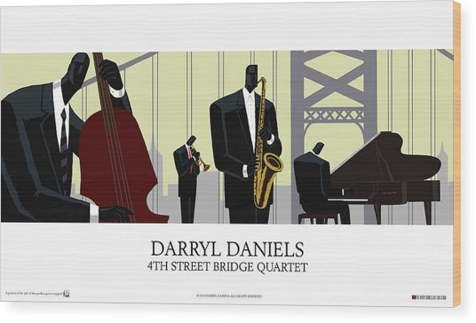 4th Street Bridge Quartet - Poster Style Wood Print