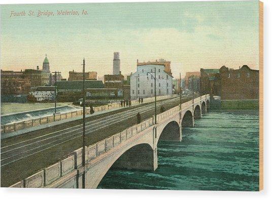 4th Street Bridge Waterloo Iowa Wood Print
