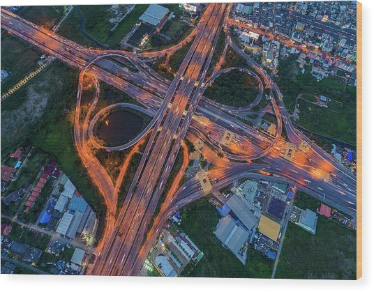 Wood Print featuring the photograph Aerial View Of Traffic Jams At Nonthaburi Intersection In The Evening, Bangkok. by Pradeep Raja PRINTS