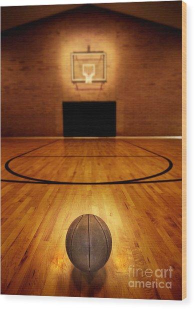 Basketball And Basketball Court Wood Print