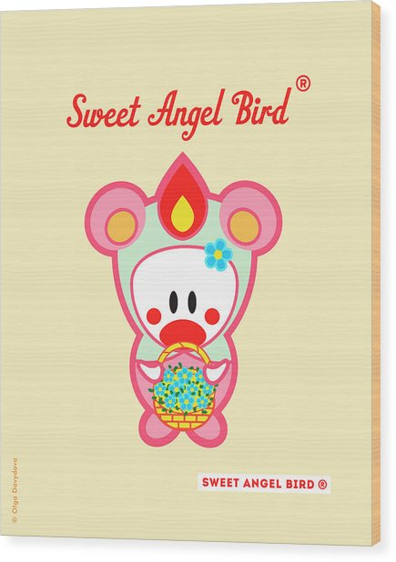 Cute Art - Sweet Angel Bird In A Pink And Mint Bear Costume Holding A Basket Of Blue Flowers Wall Art Print Wood Print