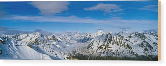 Mountains And Glaciers In Wrangell-st Wood Print