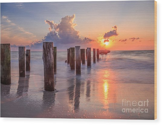Sunset Naples Beach Florida Wood Print