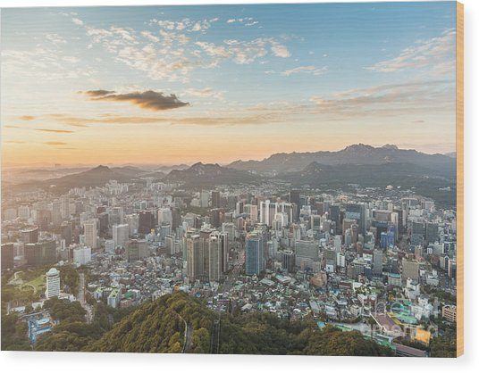 Sunset Over Seoul Wood Print