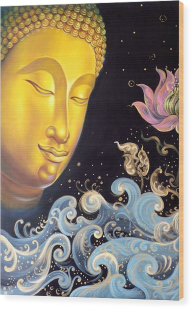 The Light Of Buddhism Wood Print by Chonkhet Phanwichien