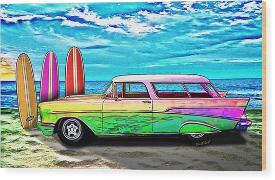 57 Chevy Nomad Wagon Best Part Of Waking Up Wood Print