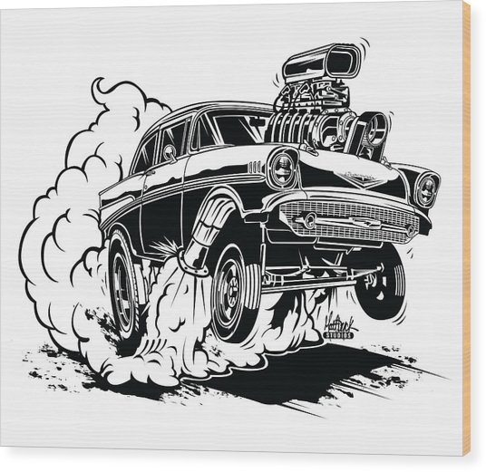 '57 Gasser Cartoon Wood Print