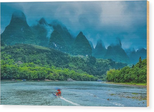 Karst Mountains And Lijiang River Scenery Wood Print