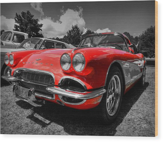 Wood Print featuring the photograph '59 Corvette 001 by Lance Vaughn