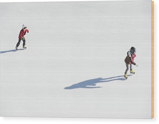 Aerial View Of Ice Skating Wood Print
