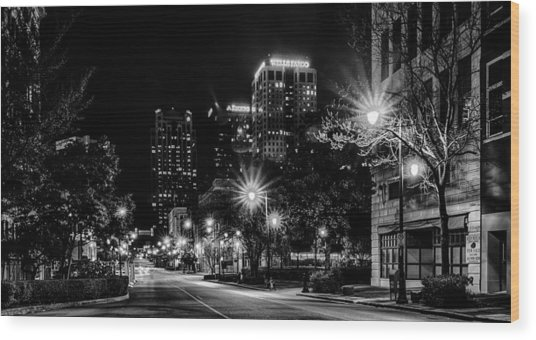 Birmingham Alabama Evening Skyline Wood Print
