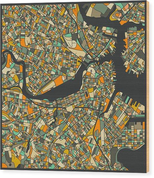 Boston Map Wood Print