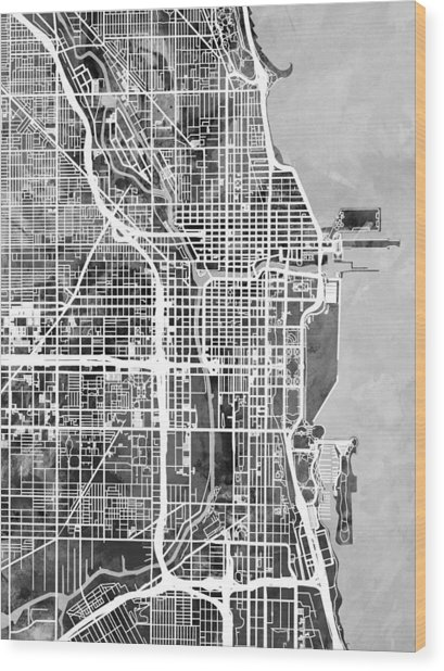 Chicago City Street Map Wood Print