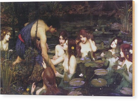 Hylas And The Nymphs Wood Print