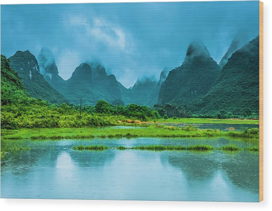 Karst Rural Scenery In Raining Wood Print