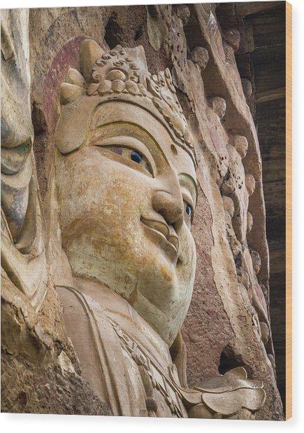Maijishan Grottoes Tianshui Gansu China Wood Print by Adam Rainoff