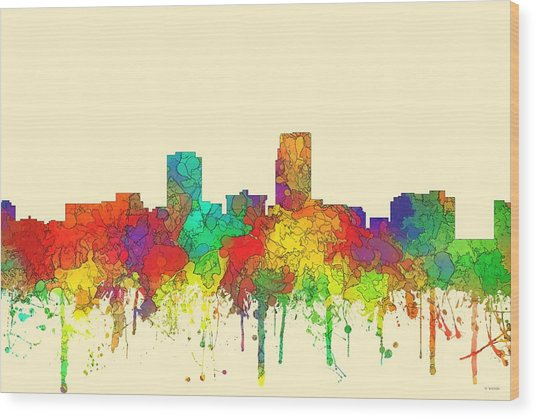 Omaha Nebraska Skyline Wood Print