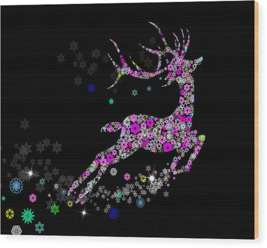 Reindeer Design By Snowflakes Wood Print