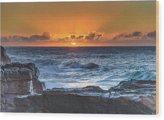 Sunrise Seascape With Sun Wood Print
