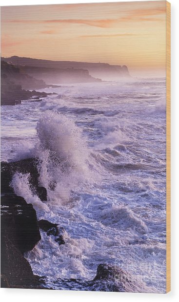 Sunset In The Portuguese Coast Wood Print by Andre Goncalves