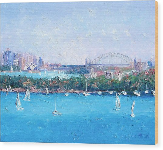 Sydney Harbour And The Opera House By Jan Matson Wood Print