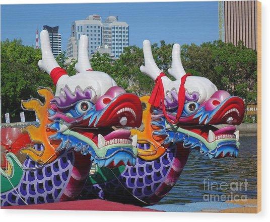 Traditional Dragon Boats In Taiwan Wood Print