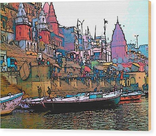 Varanasi Wood Print by Lisa Dunn