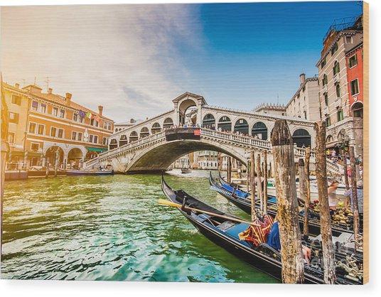 Venice Sunset Wood Print