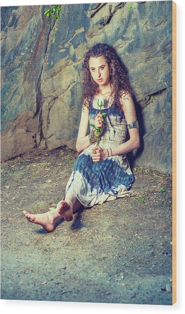Young American Woman Missing You With White Rose In New York Wood Print