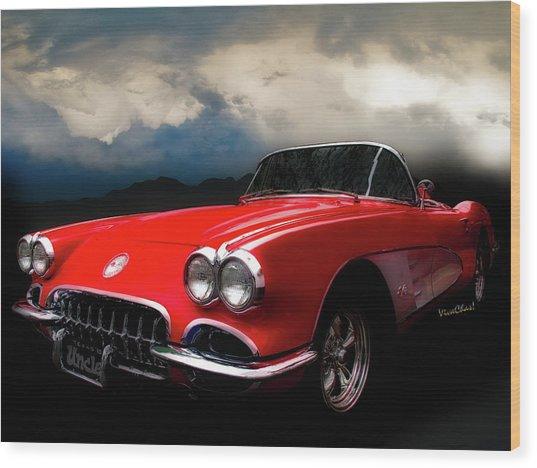 60 Corvette Roadster In Red Wood Print
