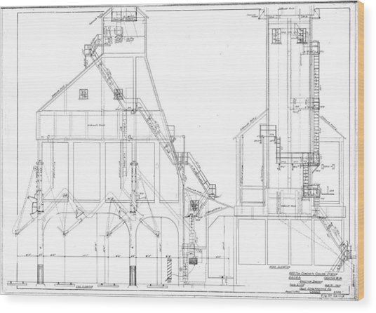 600 Ton Coaling Tower Plans Wood Print