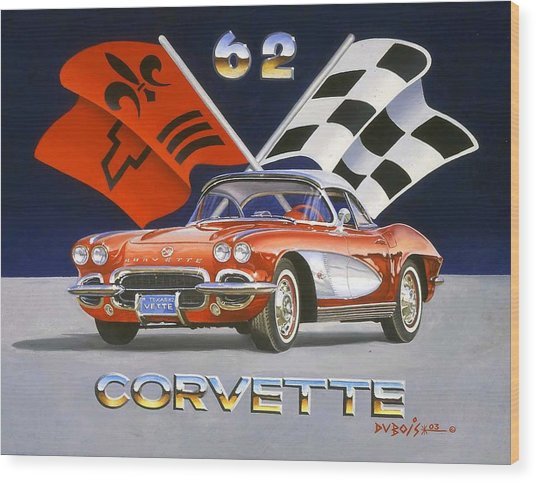 62 Vette Wood Print
