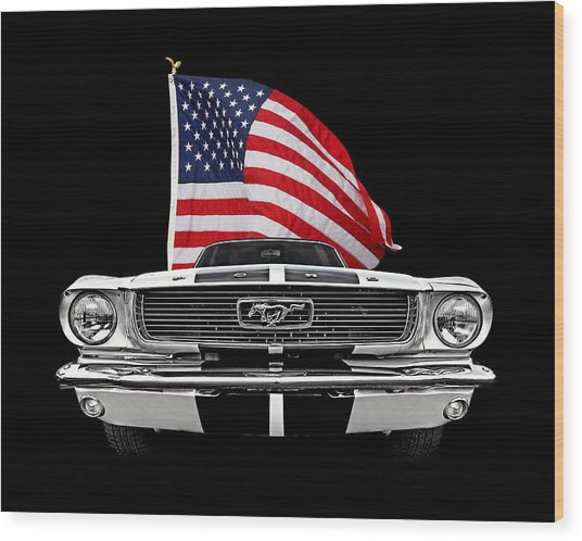 66 Mustang With U.s. Flag On Black Wood Print