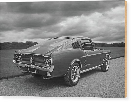 67 Fastback Mustang In Black And White Wood Print