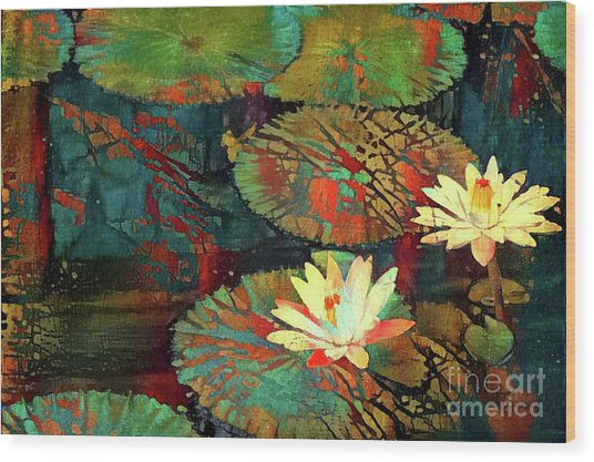 Jeweled Water Lilies Wood Print