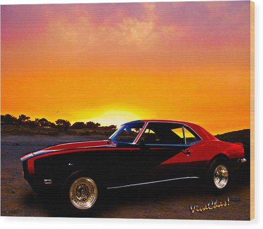 69 Camaro Up At Rocky Ridge For Sunset Wood Print