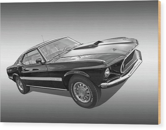 69 Mach1 In Black And White Wood Print