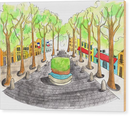 Cours Mirabeau With Trees And Fountain  Wood Print