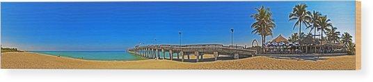 6x1 Venice Florida Beach Pier Wood Print