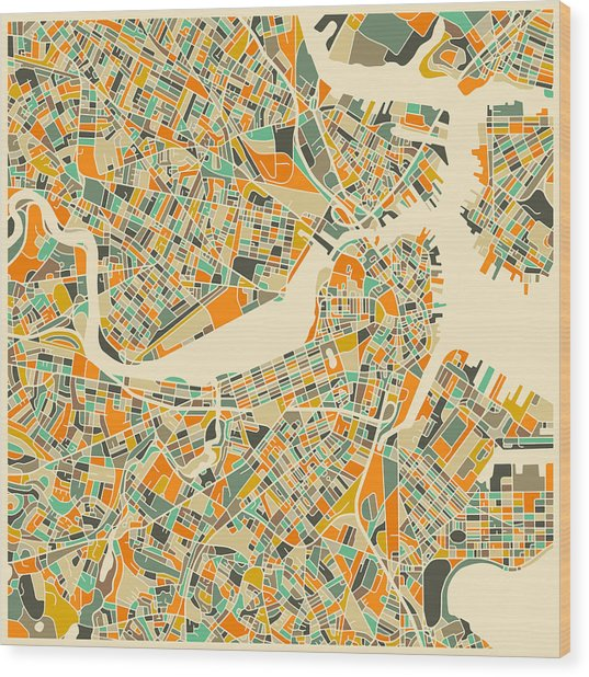Boston Map Wood Print
