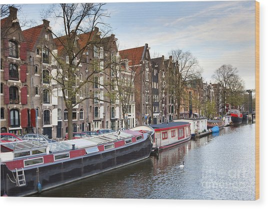 Channels Of Amsterdam Wood Print by Andre Goncalves