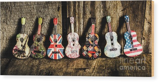 7 Continents Of Sounds Wood Print