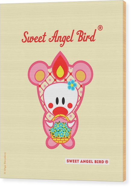 Cute Art - Sweet Angel Bird In A Pink Bear Costume Holding A Basket Of Little Blue Flowers Wall Art Print Wood Print