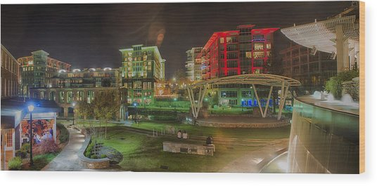 Greenville South Carolina Near Falls Park River Walk At Nigth. Wood Print