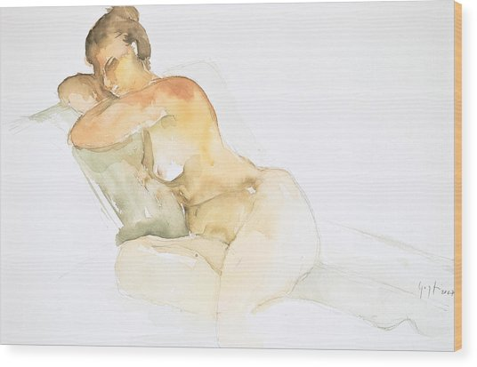 Nude Series Wood Print by Eugenia Picado