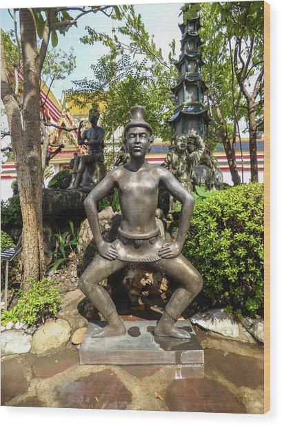 Thai Yoga Statue At Famous Wat Pho Temple Wood Print