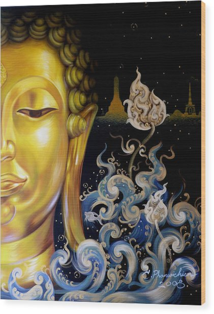 The Light Of Buddhism Wood Print