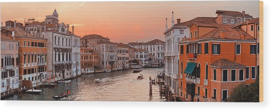 Wood Print featuring the photograph Venice Grand Canal Sunset by Songquan Deng