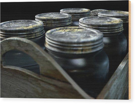 Whiskey Jars In A Crate Wood Print