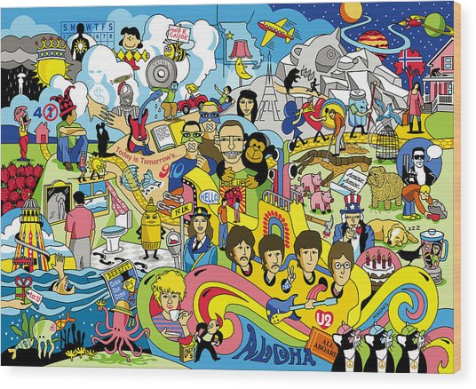 70 Illustrated Beatles' Song Titles Wood Print